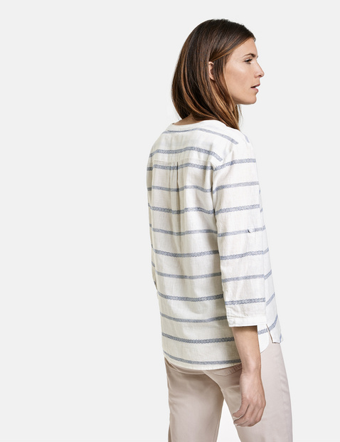 3/4-sleeve blouse with horizontal stripes