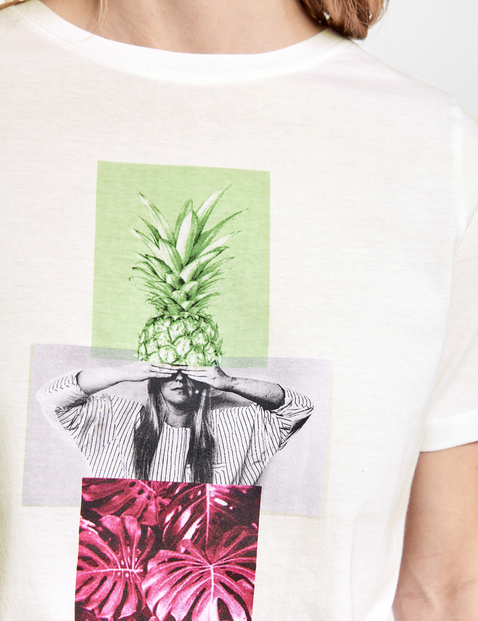 Shirt met artistieke print, organic cotton