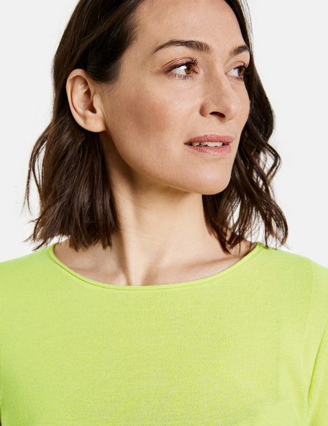Cotton jumper with 3/4-length sleeves