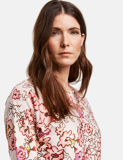 Organic cotton jumper with a floral pattern