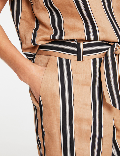 Wide trousers with vertical stripes