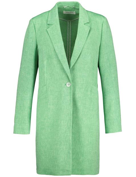 Long blazer with a woven texture