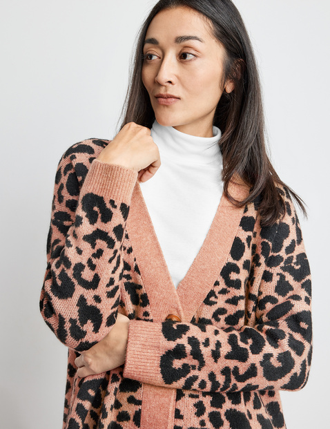 Cardigan with a leopard print pattern
