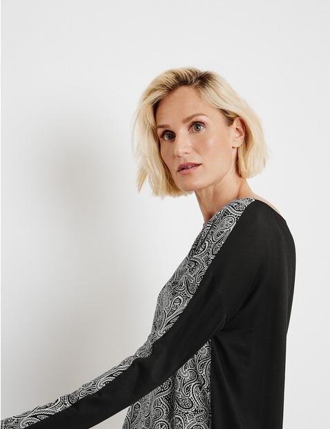 Koszulka z długim rękawem i wzorem paisley, EcoVero