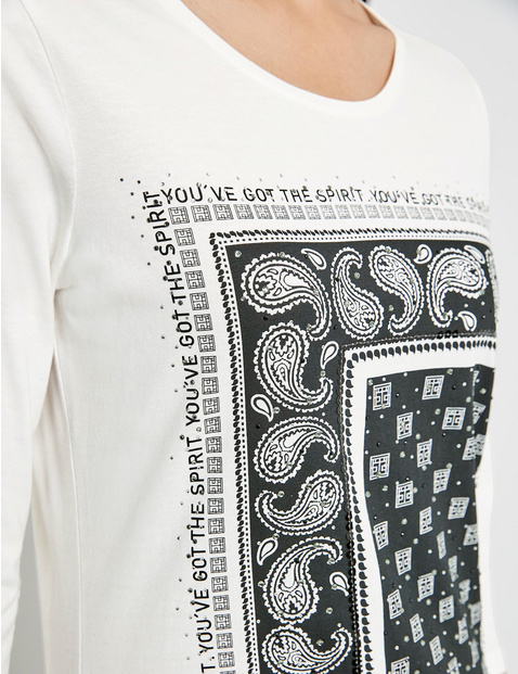 3/4-sleeve top with a front print, GOTS