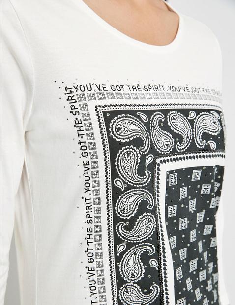 Shirt met 3/4-mouwen en print op de voorkant GOTS