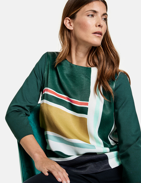 3/4-sleeve top with a front print, EcoVero