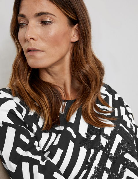 3/4-sleeve top with a graphic pattern, GOTS