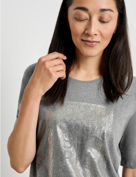 1/2-sleeve top with a front print, GOTS