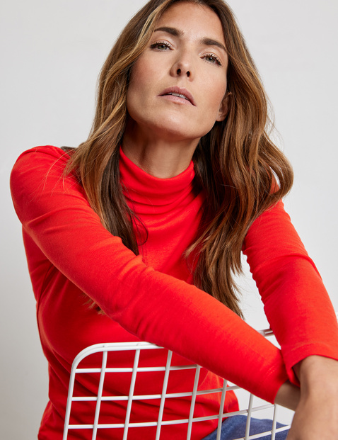 Long sleeve top in lyocell and viscose