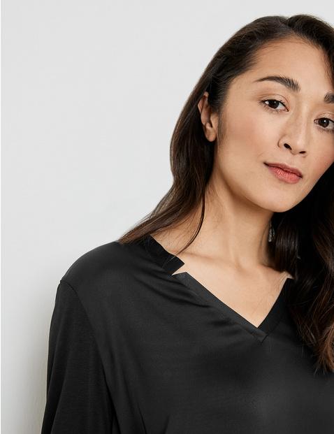 Shirt met 3/4-mouwen en modieuze hals, EcoVero