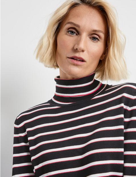 Striped polo neck jumper