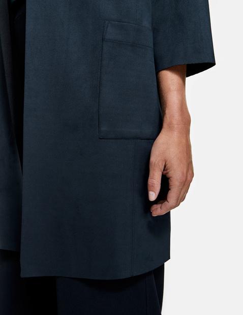Coat with velour texture