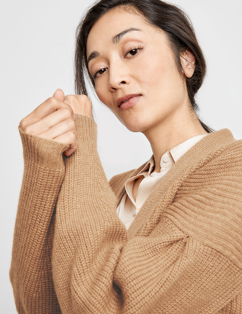 Knit coat in wool and cashmere