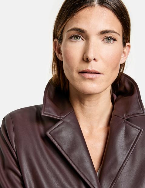Short faux leather coat
