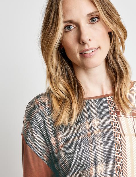 Koszulka z długim rękawem w patchworkowym stylu, EcoVero