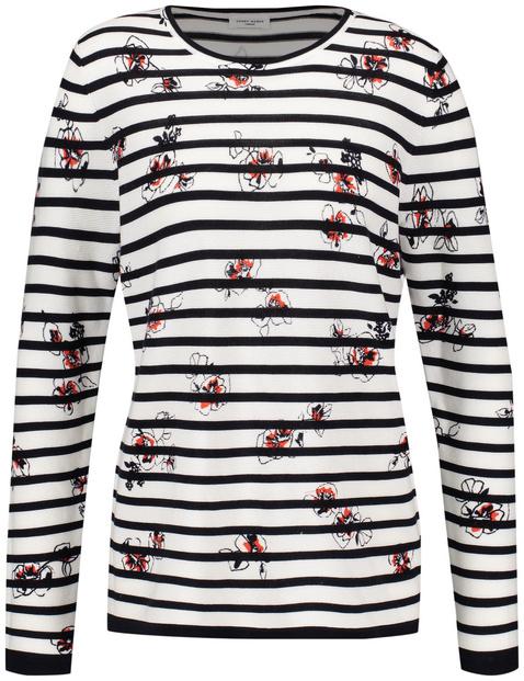 Gestreifter Pullover mit floralem Print