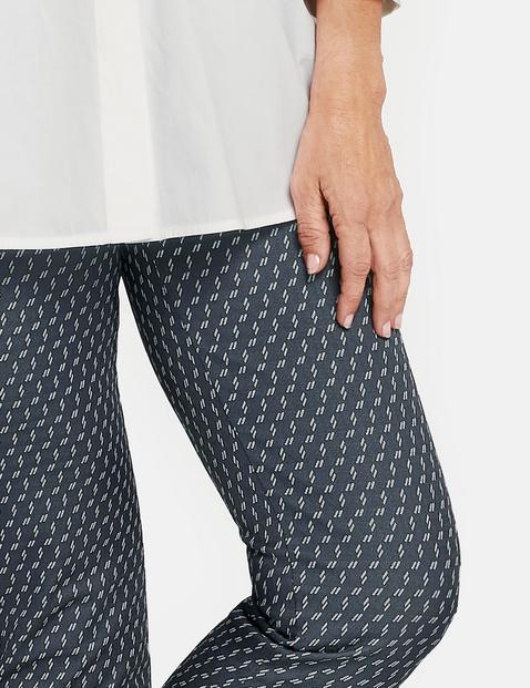 Spodnie Slim Fit o dł. 7/8 w drobny wzór