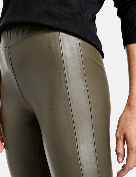 Trousers in faux leather, Slim Fit