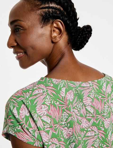 Koszulka z nadrukiem w liście, EcoVero