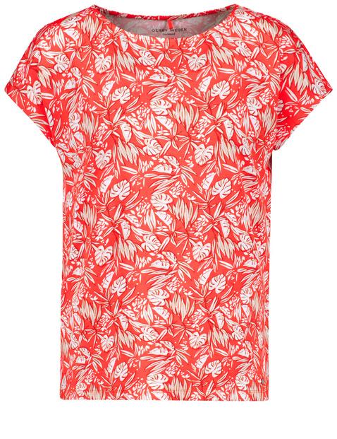 Shirt met bladprint EcoVero