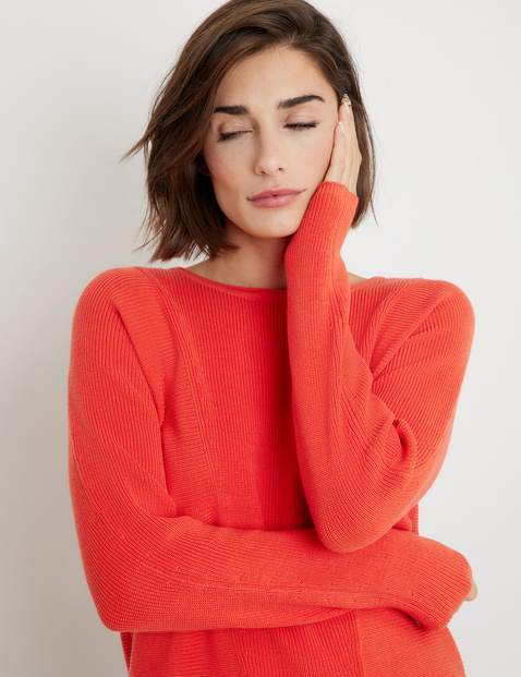 Jumper with ribbed details, GOTS