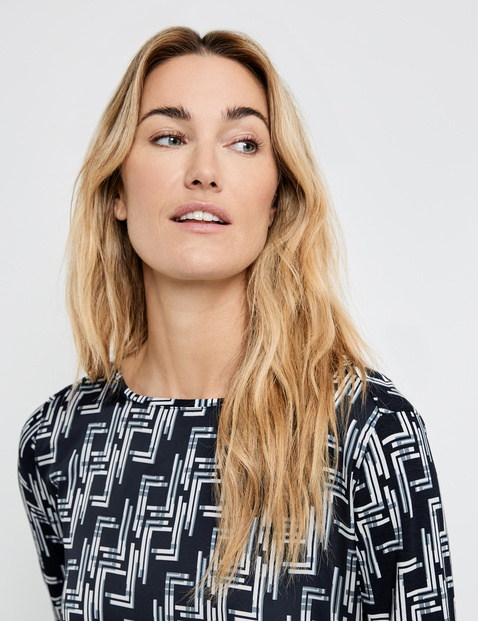 3/4-length sleeves with a graphic pattern, EcoVero