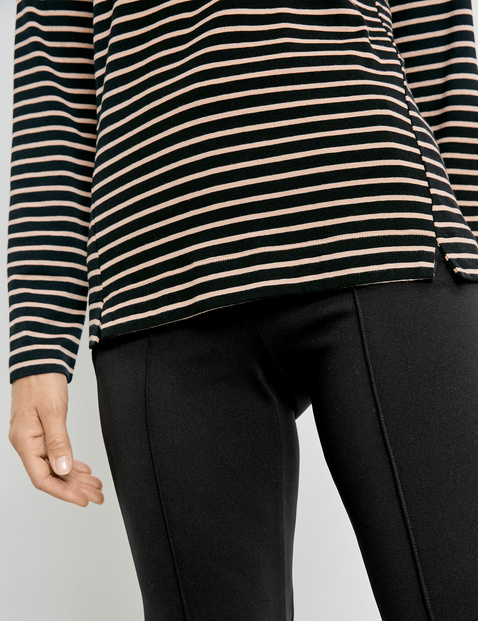 Striped top with 3/4-length sleeves